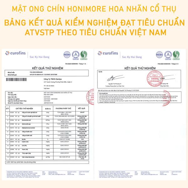 Bảng kết quả kiểm nghiệm đạt tiêu chuẩn ATVSTP theo Tiêu chuẩn Việt Nam