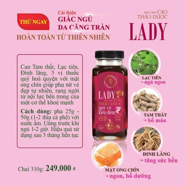 Mật ong rừng cao thảo dược Honimore Lady tăng cường sức khỏe chai 310g