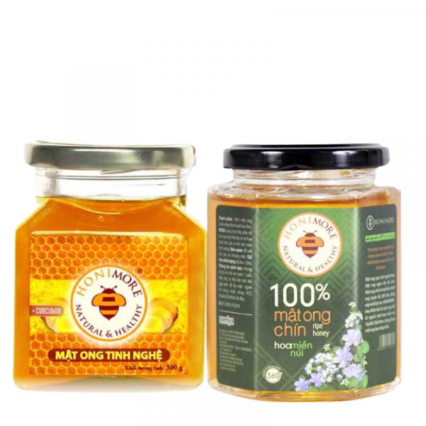 Combo mật ong tinh nghệ 360g - Mật ong rừng nguyên chât 360g