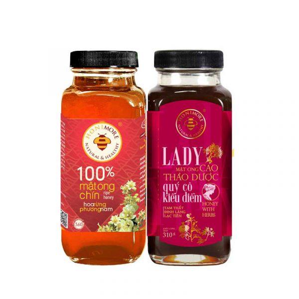 Combo Mật ong rừng cao thảo dược Honimore Lady chai 310g và Mật ong rừng nguyên chất 360g