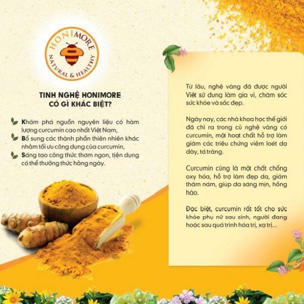 Combo Tinh bột nghệ nếp vàng Honimore hũ 200g và Mật ong rừng nguyên chất 360g - 100% từ nghệ nếp vàng Khoái Châu, Hưng Yên